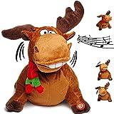 Unbekannt singender & Tanzender - Elch / Rentier - I Feel Good - Plüschtier mit Sound & Bewegung - 29 cm - aus Stoff / Plüsch - Party Geburtstag / Hirsch - Tier - Singe..