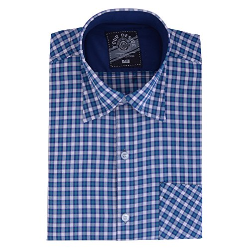 Your Desire Shirts Men Cotton White and Sea Green Formal Shirt (Size 40)