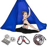 Aerial Yoga Fitness Tuch,Pilates Flight Hängematte Swing Anti-Schwerkraft mit Schlössern und Extendern und Hängeplatten,darkblue