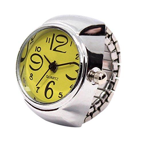 (Damen Mädchen Fashion Finger Ring Armbanduhr Mingfa Creative Analog Quarz Armbanduhr Statement Verlobungsring Hochzeit Jahrestag Ring Verstellbar, Legierung, Gelb, 50,80 cm)