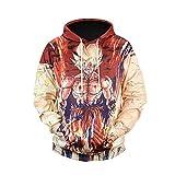 WEIYIGE Sweatshirt 3D Männer Top Jacke Dragon Ball Sun Wukong Print Kapuzen Rollkragenpullover, M
