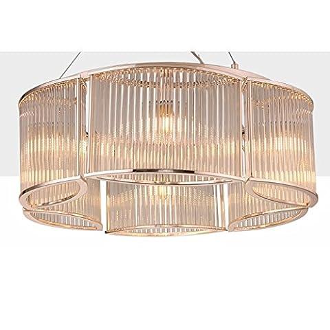 Yuyuan Light Post-moderne Kronleuchter, postmoderne minimalistische Kunst Laternen Deckenleuchte, Wohnzimmer Ess-Komplex Beleuchtung dekorative hängende Lampe, runde Kristall Kronleuchter, E27 transparente Farbe
