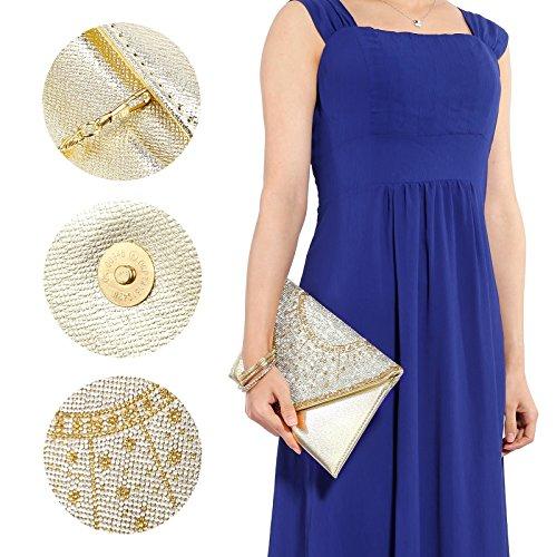 Bling Damen Abendtasche Damentasche Bankett Fest Brauttasche Handtasche 3 Farbe Hellgold