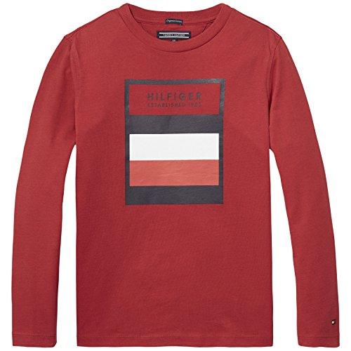 Tommy Hilfiger Jungen Langarmshirt Ame 3 Col Logo CN Tee L/S, Rot (Salsa 697),92 (Herstellergröße:2 Jahre) (92 Tee)