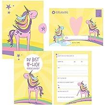 12 Einladungskarten Geburtstag Einhorn (Mädchen). Handgemachte Einladungskarten Kindergeburtstag inkl. 12 liebevollen Hand designten Briefumschlägen - ... Karton Box. Stay Inspired By Lisa Wirth
