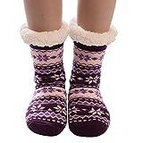 KaloryWee Heißer Verkauf Weihnachten Socken Damen Frauen Warme Stoppersocken mit ABS Sohle Teddyfutter Noppen Drucken Wintersocken