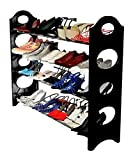 #10: Convertible 4 Tier Stack-able Black Shoe Rack Organizer
