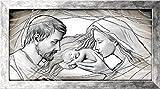 Deco Italia Quadro Sacro su Pannello di Legno con Cornice e Glitter Argento - Sacra Famiglia Holy Kiss Grey | 113 x 63 cm