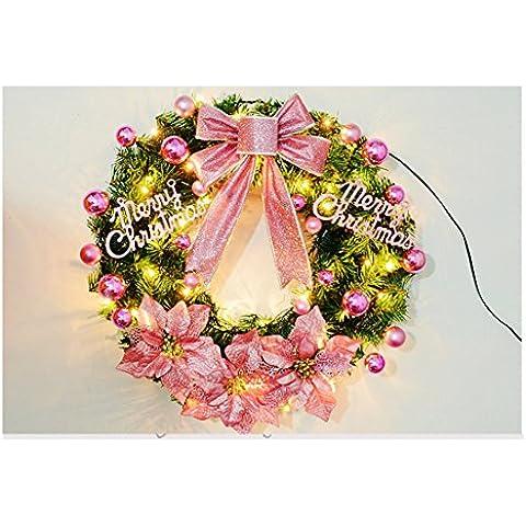 Cecil eCommerce Agujas de pino de Navidad Garland LED decoración colgante árbol árbol de Navidad decoración de puerta,