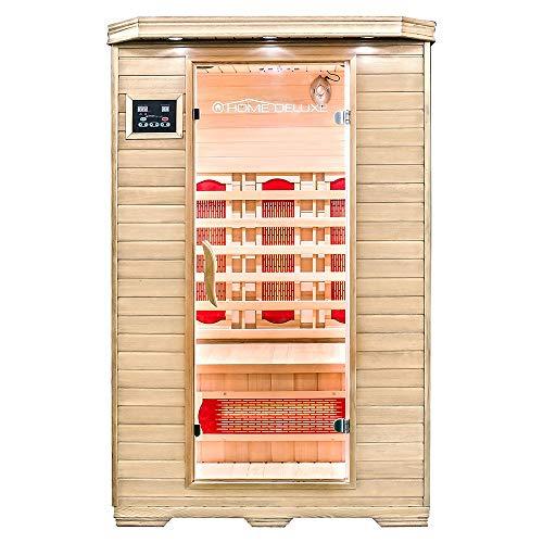 Home Deluxe – Infrarotkabine – Redsun M – Vollspektrumstrahler – Holz: Hemlocktanne - Maße:...