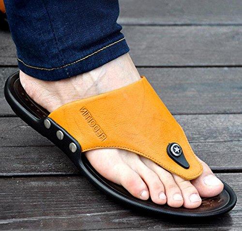 Beauqueen Man's Outdoors Strand Clip-Toe Leder Hausschuhe Sommer Gesunde Soft Outsoles Lässige Anti-Rutsch-Sport Casual Comforty Schuhe EU Größe 38-44 Yellow