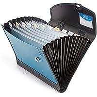 Rapesco Documentos - Carpeta archivadora tipo acordeon A4 con 13 compartimentos, color azul y negro