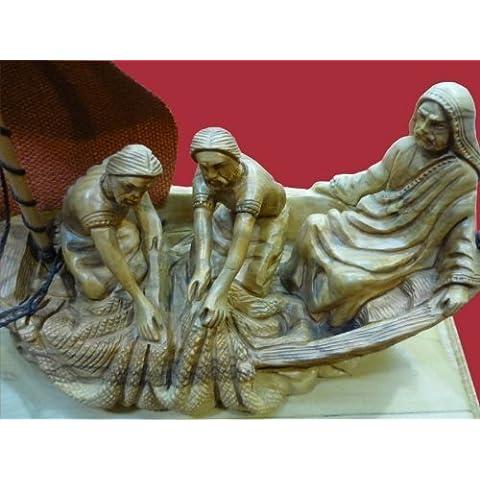 Tempesta calmato Gesù nella barca mano intagliato statua in legno