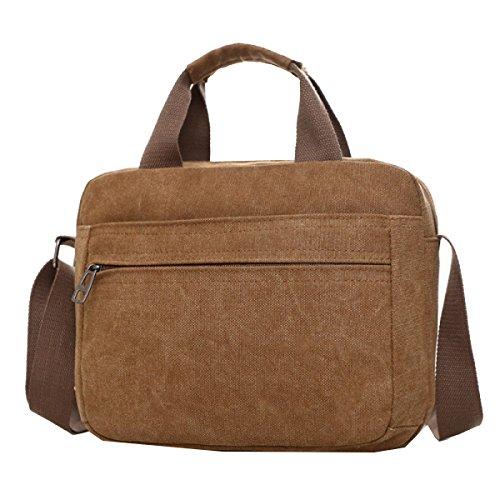 Yy.f Nuovi Uomini Mobile Messenger Bag Big Bags Computer Tascabile Gli Uomini Devono Viaggiare Bag Borsa Di Tela Sacchetto Solido Multicolore Brown