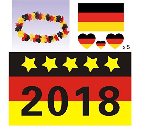 Freitag Abend Deutschland Fahnen Set: WM 2018 Deutschlandfahne 150 x 90 cm (2018 Meisterschaft) + Hawaiikette + Tattoos
