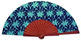 Abanico de madera tejido vaquero estampado Flores Azules