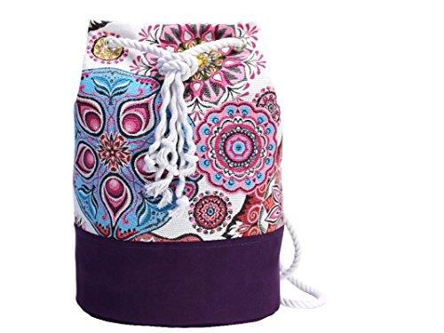 Lila Rucksack mit Mandala, vegane Yoga Sporttasche, großer Seesack aus Canvas - 4