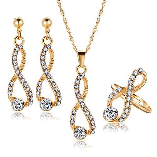 HSRG Accessories Frau Kristall Diamant Ohrring Halskette Ring Set Für Hochzeit Abendessen Schmuck Set Geschenk Abendessen-geschenk-set