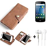 K-S-Trade® Schutzhülle für ACER Liquid Z530 Hülle Tasche Handyhülle Handytasche Wallet Flipcase Cover Handy Tasche Kunsteleder Braun Inkl. in Ear Headphones