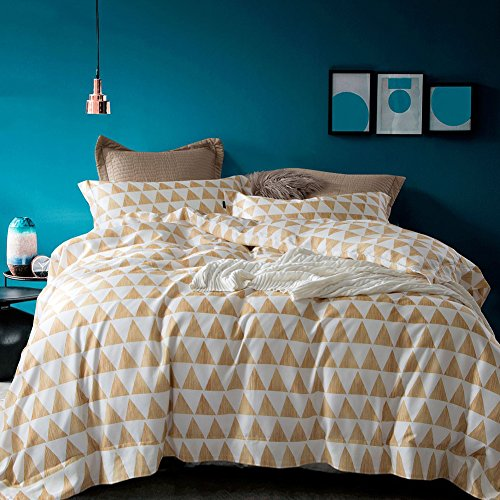 Queen-size-blatt-sets Baumwolle (Bettwäschesatz 4 Stück Pflegeleicht 100% Baumwolle Triangle Shape Printing Plain Weave Produkt Enthalten 1 Flaches Blatt 1 Bettbezug 2 Kissenbezüge,Queen)