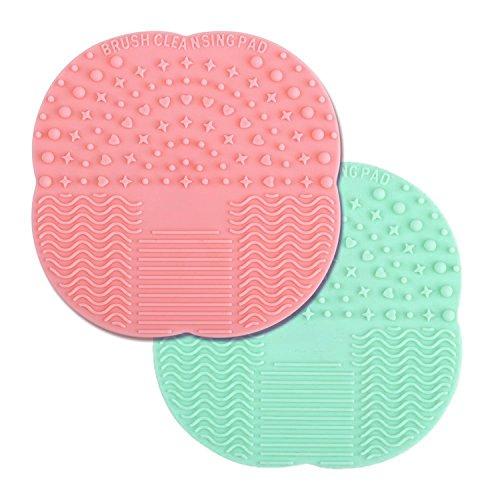 Almondcy Lot de 2 coques en silicone pour nettoyage de pinceaux de maquillage 10 x 10 cm Rouge et vert