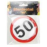 Bierdeckel 10er Packung - DEKO zum 50. Geburtstag - Pappkarton Untersetzer bedruckt mit Verkehrsschild Zahl 50