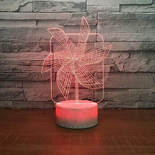 YDBDB Mode 3D Led 7 Farbe Luminous Big Pinwheel Usb Nachtlicht Gradienten Schreibtischlampe Schlafzimmer Nacht Frohe Weihnachten Home Decor Geschenke -