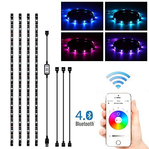 Kreema 4 x 0.5M RGB LED Streifenlicht App BT Control Bunte Synchronisation zu Musik Timer Flexible Starke Klebstoff DIY TV Hintergrundbeleuchtung Kit -