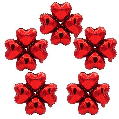 TRIXES Paquete de 5 Globos Metálicos Pequeños 18' Forma Corazónes en Rojo para Decoración Celebración Fiesta de Cumpleaños