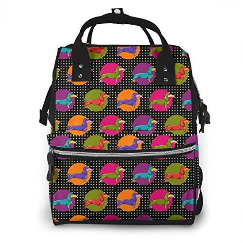 Bunter Dackel-Tupfen-Windel-Rucksack, Kapazitäts-Baby-Tasche, Multifunktionsreiserucksack-Windeltaschen stilvoll und langlebig (bunter Dackel-Liebeshund) -