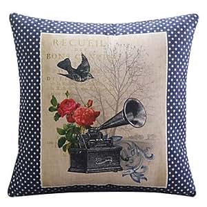 MOCHA confortable fleur romantique coton / lin taie d'oreiller décoratif