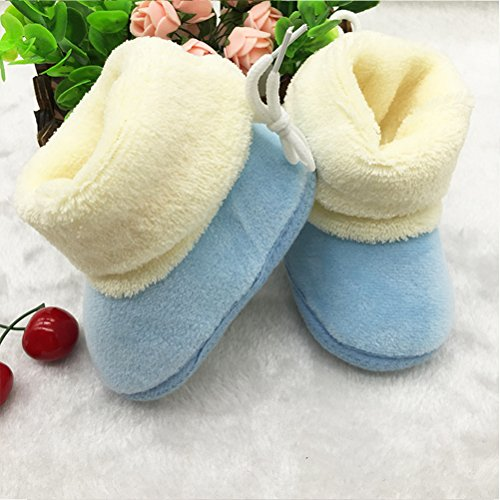Zhhlinyuan bébé Girl Keep Warm Soft Sole Snow Boots Soft Crib Shoes Toddler Boots blue