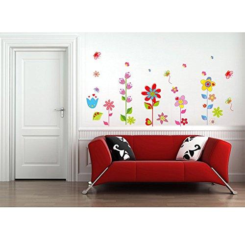 Anself DIY Wallpaper Mural Pegatinas de pared extraíbles Vinilos adhesivos Flores hermosas mariposa