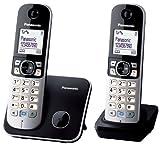 Panasonic KX-TG6812SPB - Teléfono (DECT dúo, pantalla 1.8', agenda 100 entradas), negro