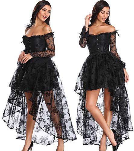 Damen Korsett Spitze Kleid Boned Bustier Steampunk-Kostüm Rock und Korsett Top Verstellbaren Taillentrainer-M