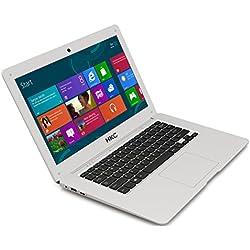 HKC NT14W-DE 35,6cm (14 Zoll ) 1920x1080 Full HD IPS Bildschirm Laptop, 4GB RAM, 32GB eMMC Speicher, USB 3.0, (Intel Atom Quad Core, x5 Z8350 CPU, Burst Frequenz 1,92 GHz, Intel FHD, Deutsch Windows Home 10, 64 Bit), Deutsch Tastatur. Deutsch Netzadapter, Silber, neue Version