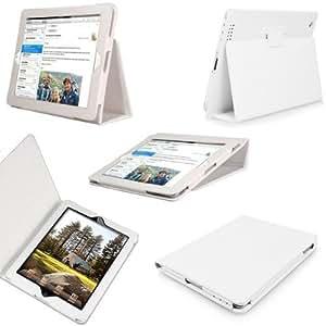 Etui Housse Luxe Blanc pour Apple Ipad 4 / iPad 3 / iPad 2 + STYLET + FILM OFFERT