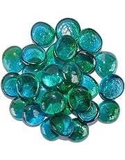 Maalavya 54 Pieces Crystalline and Translucent Shaded Glass Stone for Decorative Aquarium Fish Tank