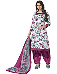 HRINKAR Women's Cotton Salwar Suit Dupatta Dress Material (HRKT1650_Yellow And Pink_Free Size)