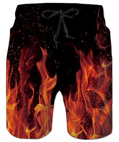 ALISISTER 3D Galaxy Fire Prints Badehose Herren Jungen Lange Badeshorts Schnell Trocknend Schwimmhose Strand Surf Swim Trunks L
