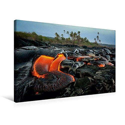 Premium Textil-Leinwand 75 cm x 50 cm quer, Lava und Kokospalmen | Wandbild, Bild auf Keilrahmen, Fertigbild auf echter Leinwand, Leinwanddruck (CALVENDO Orte)