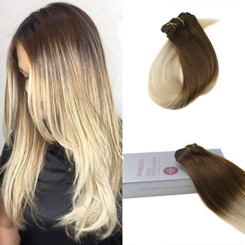 Moresoo 14 Pouces Clip in Hair Extensions Chocolate Brown#4 to Platinum Blonde#60 Remy Humain Hair Extensions Straight Clip on Full Head Hair Extensions 7pieces 120g