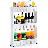INOVERA (LABEL) 3 Tier Slim Side Plastic Kitchen Storage Rack with Wheels(White)
