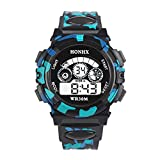 #8: Rrimin Outdoor Multifunction Waterproof Boy Sports Electronic Watches (Black)