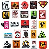 sundada Sticker Warning Sign Sticker Home Decoration Diy Danger Prohibition Reminder Funny Sticker 50 Pieces