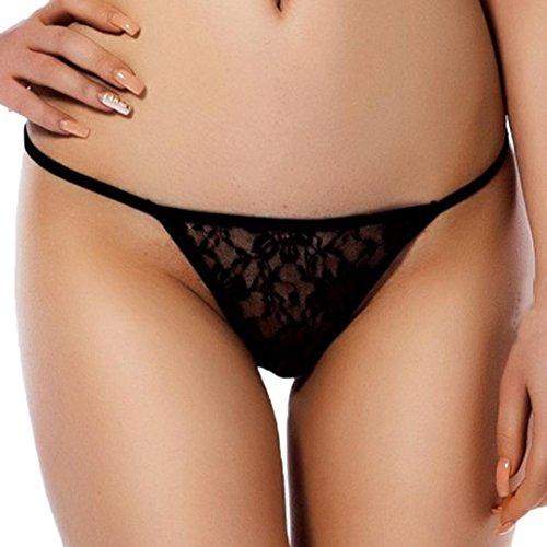 *YunYoud Damen Große Größe Unterwäsche Elastizität Bandage V-String Offener Crotchless Höschen Frau Einfarbig Reizvoller G-String Stickerei Unterwäsche Unterhose (XL, Schwarz)*