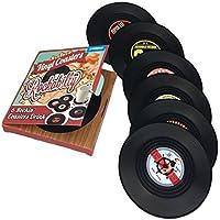 Ourlove Fashion 6Posavasos Retro, CD, disco, vinilo, alfombrilla para bebidas, copas, Vajilla Rockabilly