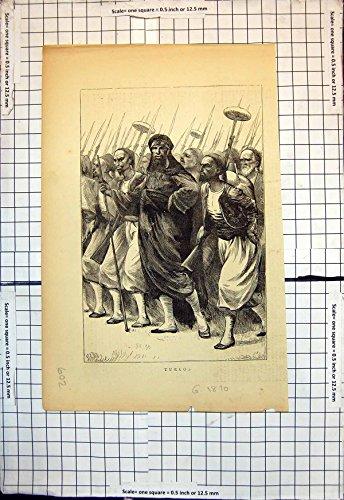 Old-print Copie Antique de la Coiffe 1870 de Barbes de Lances de Fusils d'Hommes de Groupe de Turcos par Old-print