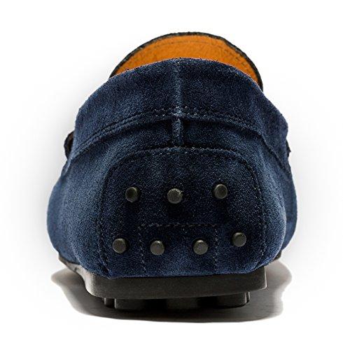 OPP Herren Minimalism Komfort Weich Echtleder Fahren Schuhe Blau-1