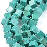 AqBeadsUk Pietre semipreziose di energia cristallina con potere di guarigione naturale - Pregiato gioiello di pietra preziosa con pietre preziose del cubo di Dyde Turchese 8mm che realizza perline da 16 pollici